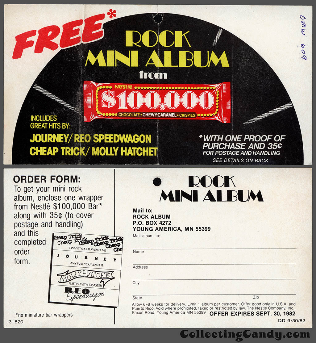 Nestle - $100,000 bar - rock mini album - mail-away coupon - 1982