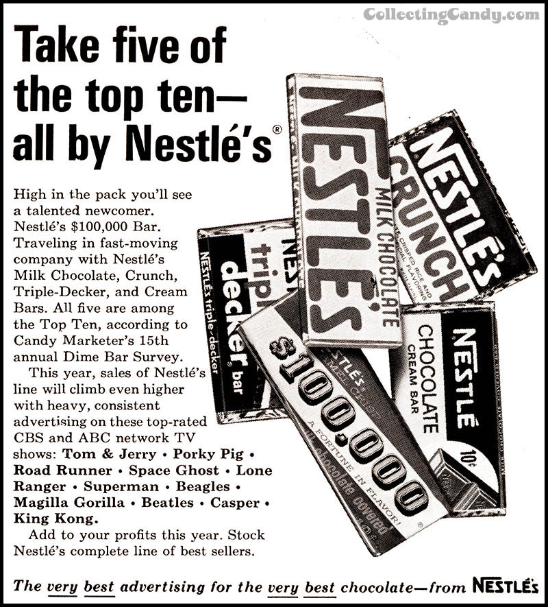 Nestle - 100,000 bar trade ad - February 1967