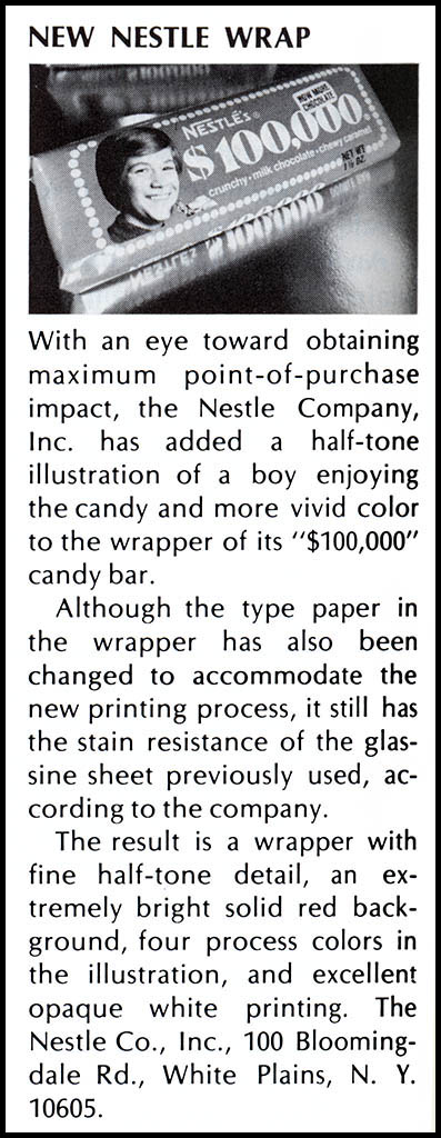 Nestle $100,000 bar trade clipping -  June 1973
