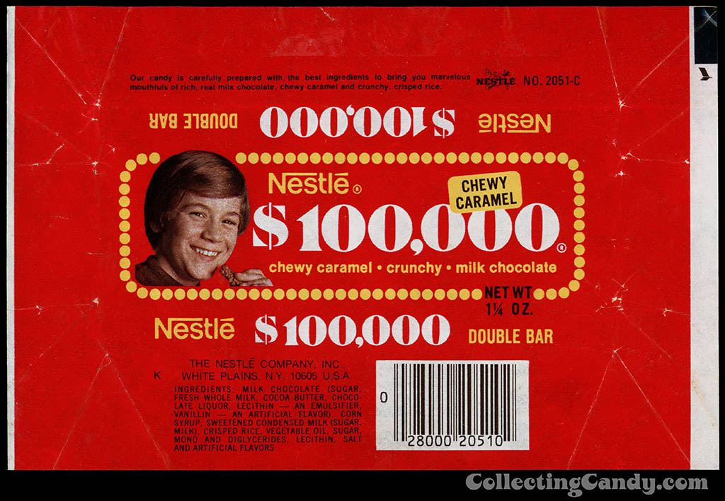 Nestle - $100,000 bar wrapper - chewy caramel - 1 1/4 oz - chocolate candy bar wrapper - late 1970's