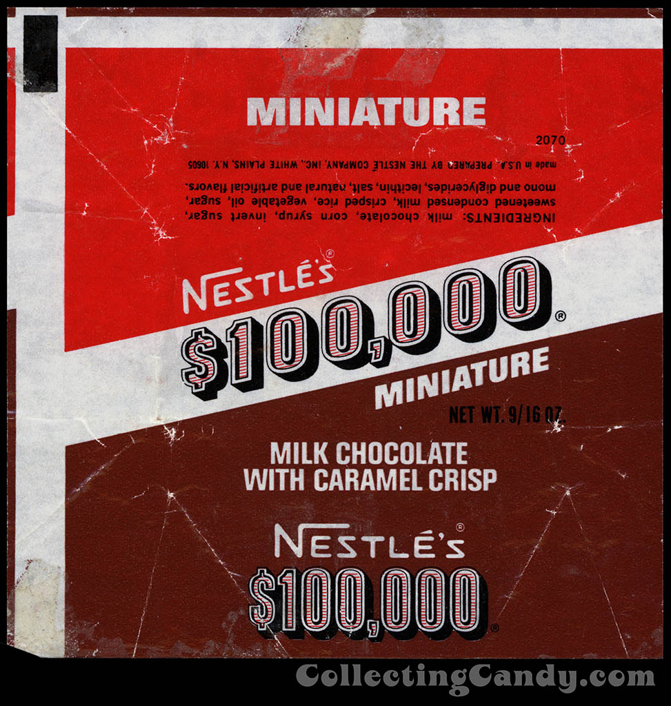 Nestle $100,000 bar mini wrapper - 1960's