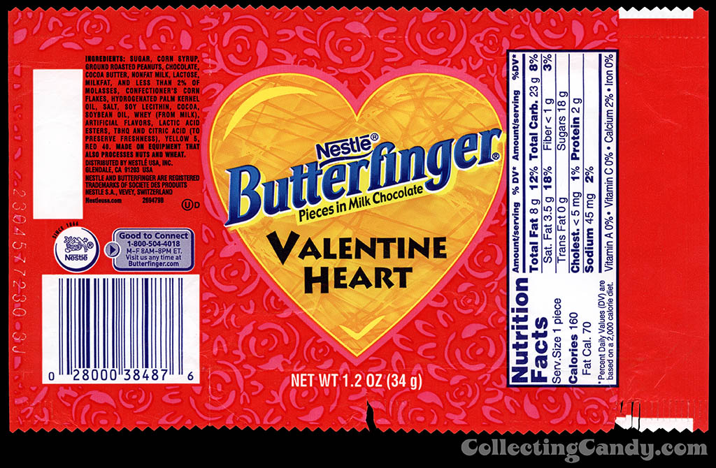 Nestle - Butterfinger Valentine Heart - 1.2 oz candy wrapper - 2013