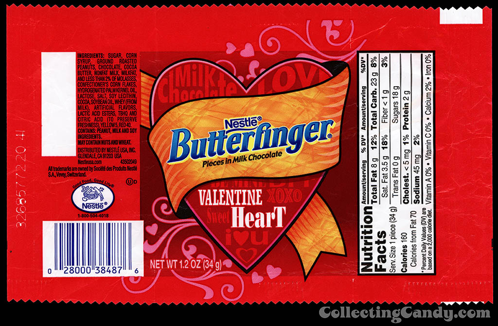 Nestle - Butterfinger Valentine Heart - 1.2 oz candy wrapper - 2014