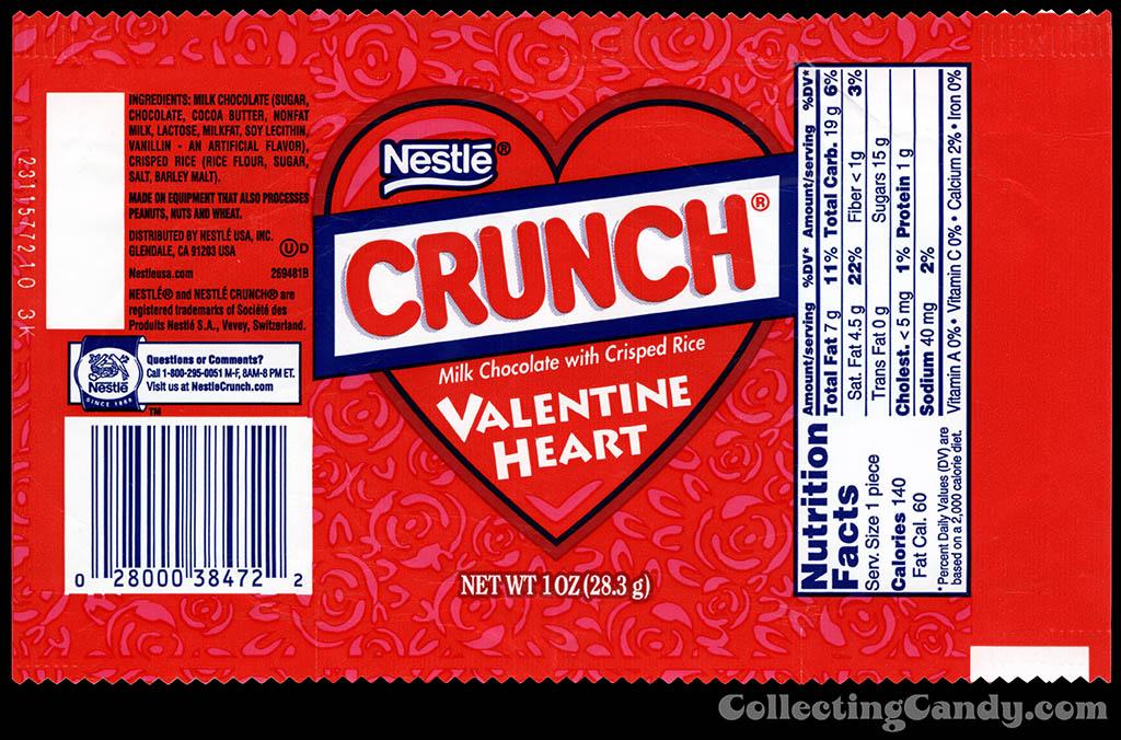 Nestle - Crunch Valentine Heart - 1 oz candy wrapper - 2013