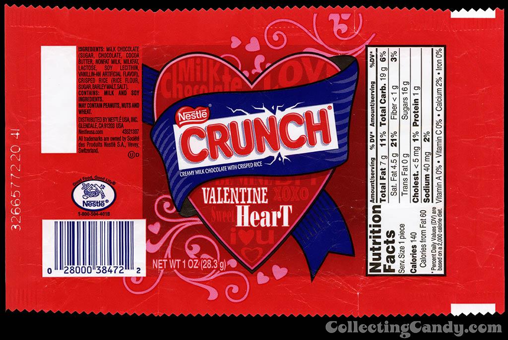 Nestle - Crunch Valentine Heart - 1 oz candy wrapper - 2014