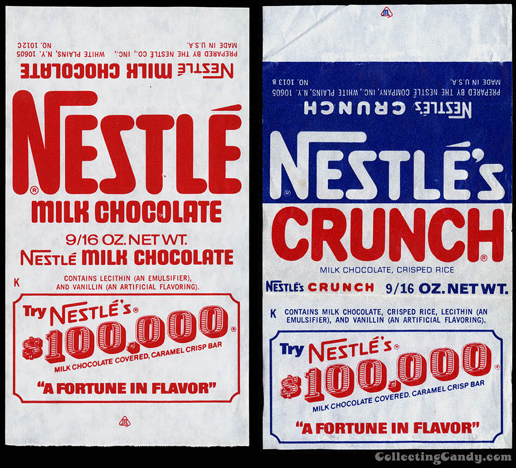 Nestle - Nestle's Milk Chocolate and Crunch- 100,000 promo - 9_16 oz chocolate candy bar wrapper - 1960's