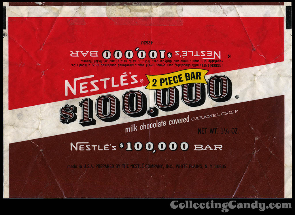 Nestle's - $100,000 Dollar Bar candy wrapper - early 1970's