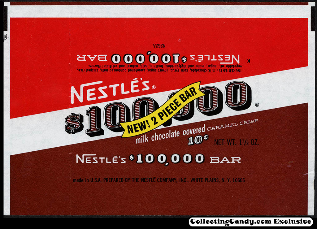 Nestle's - $100,000 - New 2 Piece Bar - 10-cent chocolate candy bar wrapper - late 1960's