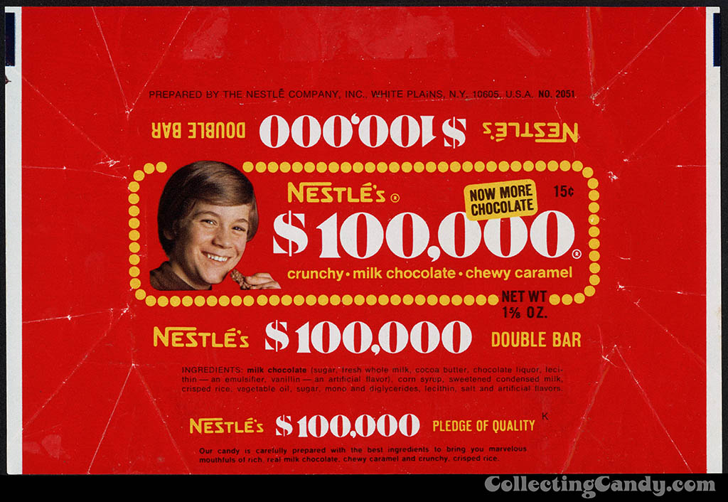 Nestle's - $100,000 bar - 15-cent chocolate candy bar wrapper - second kid wrapper - 1973