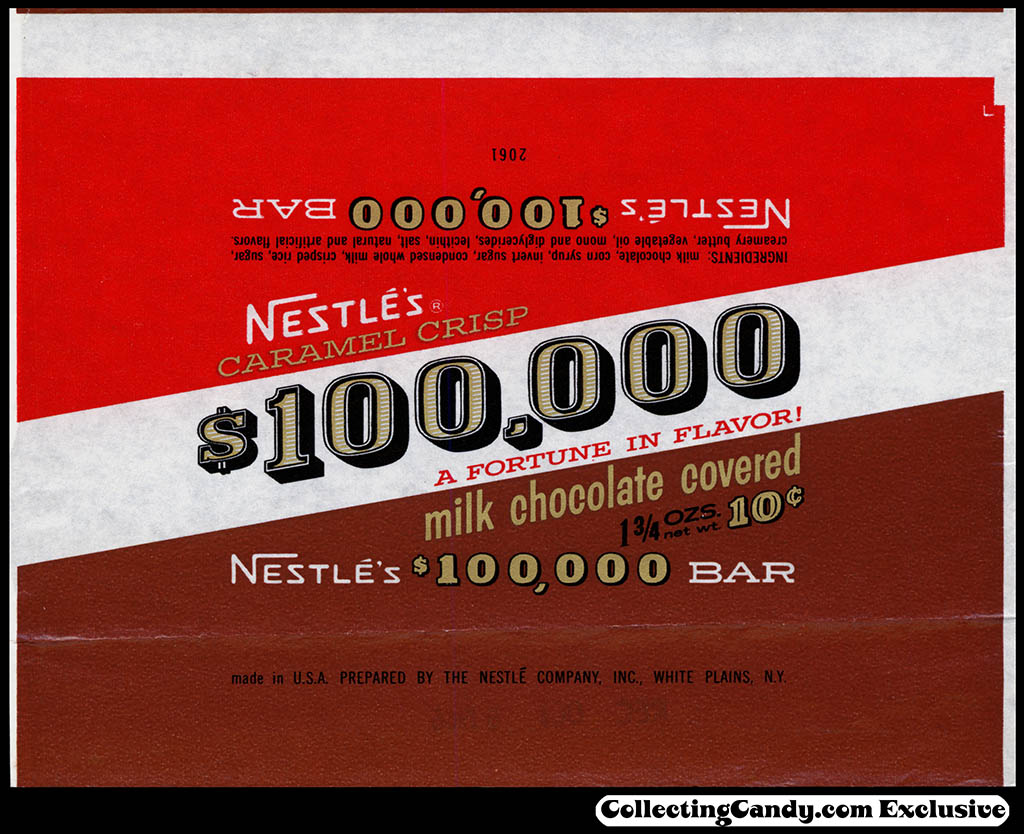 Nestle's - $100,000 bar wrapper - 1 3/4 oz - 10-cent chocolate candy bar wrapper - 1964