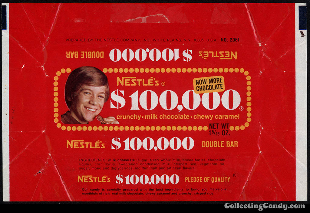 "Nestle's - $100,000 bar wrapper - first ""kid wrapper"" - 1973"