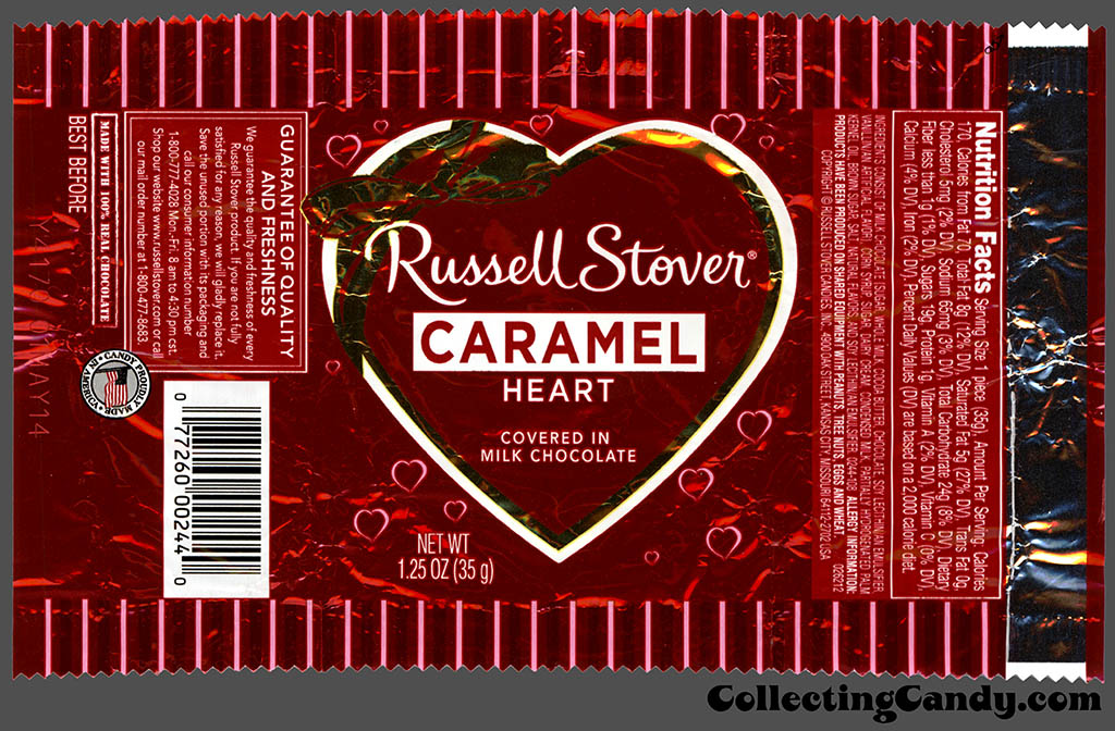 Russell Stover - Heart - Caramel covered in milk chocolate - 1.25 oz Valentine's foil candy package - 2014