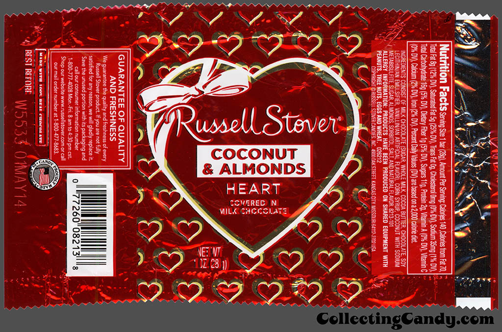 Russell Stover - Heart - Coconut & Almonds covered in milk chocolate - 1 oz Valentine's foil candy package - 2014