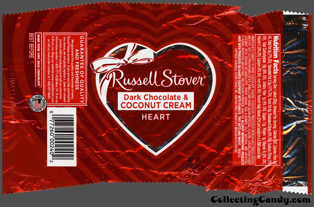 Russell Stover - Heart - Dark Chocolate & Coconut Cream - 1 oz Valentine's foil candy package - 2014