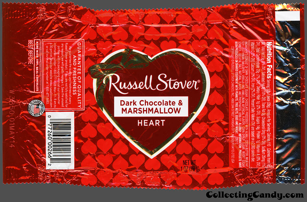 Russell Stover - Heart - Dark Chocolate & Marshmallow - 1 oz Valentine's foil candy package - 2014