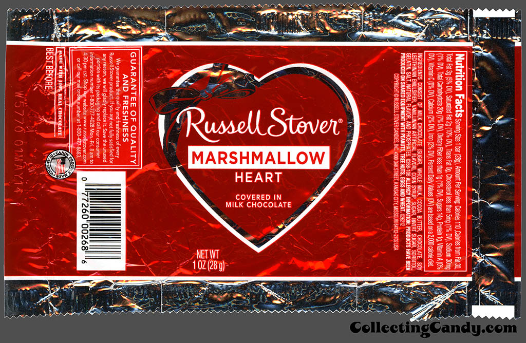 Russell Stover - Heart - Marshmallow covered in milk chocolate - 1 oz Valentine's foil candy package - 2014
