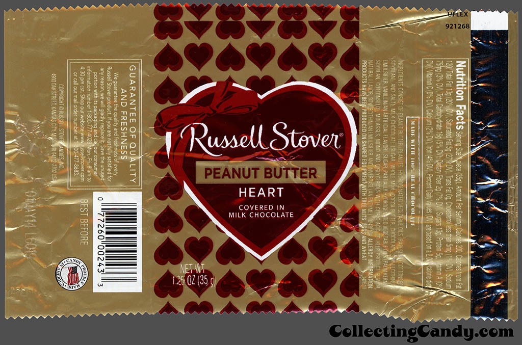 Russell Stover - Heart - Peanut Butter covered in milk chocolate - 1.25 oz Valentine's foil candy package - 2014