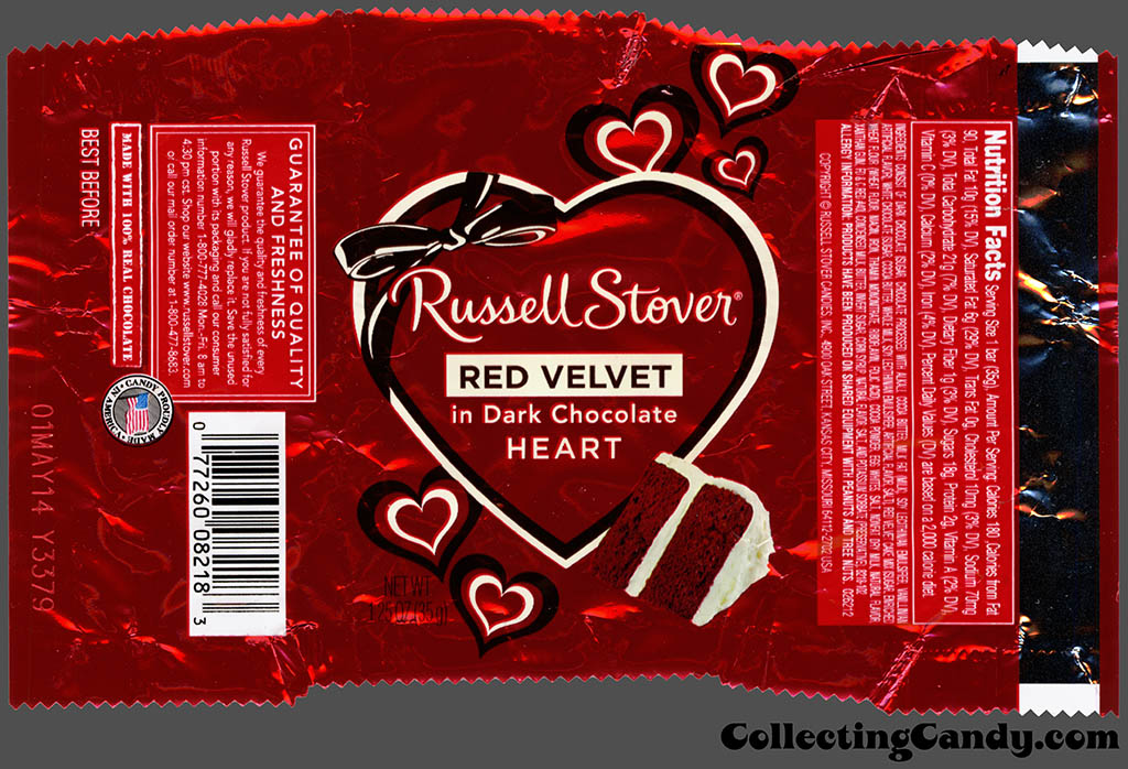 Russell Stover - Heart - Red Velvet in Dark Chocolate - 1.25 oz Valentine's foil candy package - 2014