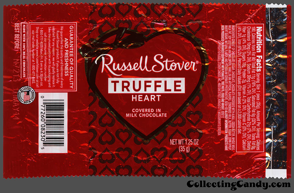 Russell Stover - Heart - Truffle covered in milk chocolate - 1.25 oz Valentine's foil candy package - 2014
