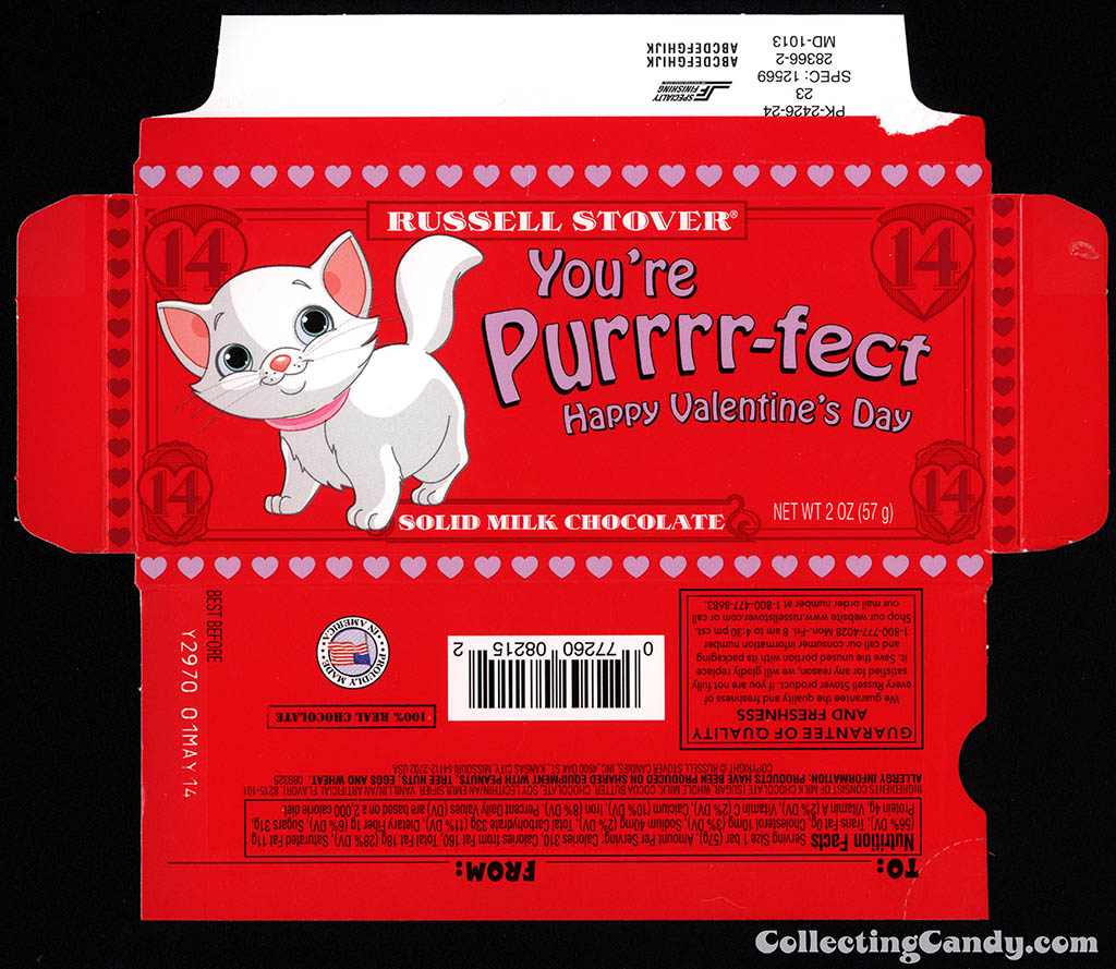 Russell Stover - You're Purrr-fect Valentine's - 2 oz chocolate bar box - 2014