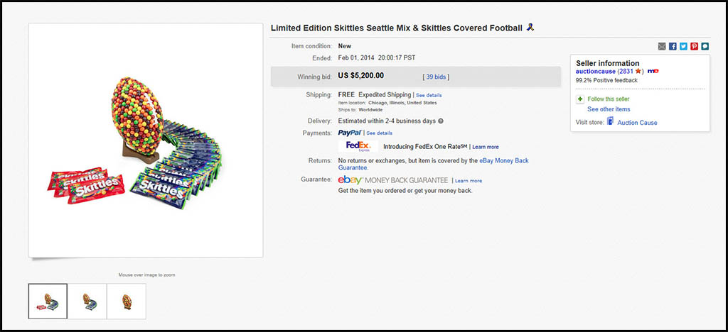 Seattle Mix Skittles-Covered Football charity eBay auction results - Feb 1 2014