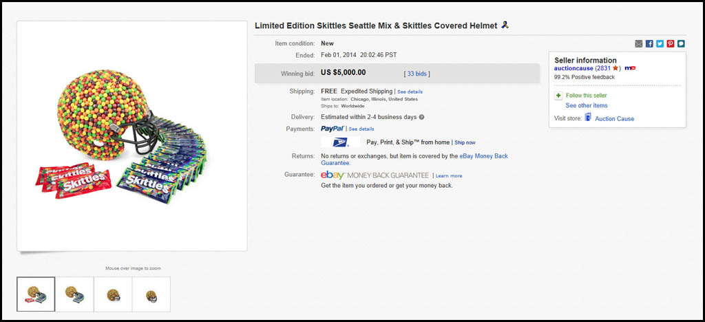 Seattle Mix Skittles-Covered Helmet charity eBay auction results - Feb 1 2014