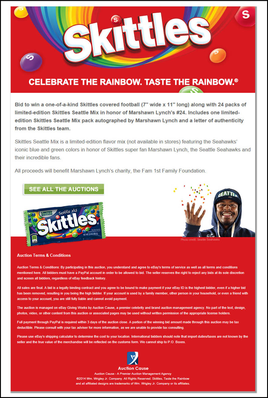 Seattle Mix Skittles charity eBay auctions overview  - Feb 1 2014
