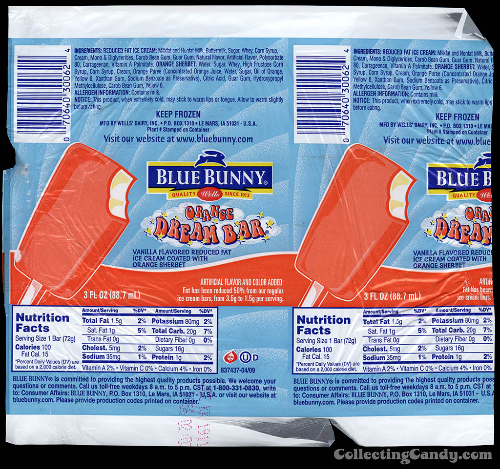 Wells Blue Bunny - Orange Dream Bar - ice cream dessert treat - wrapper - 2011