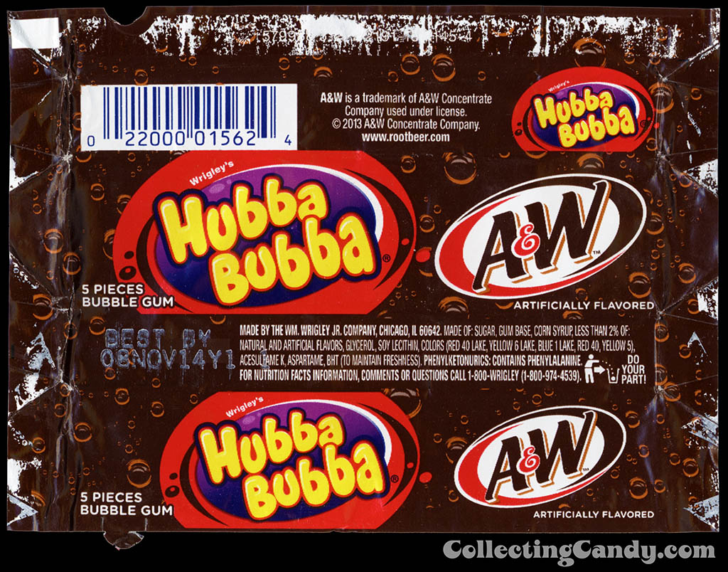 Wrigley - Hubba Bubba A&W Root Beer - bubble gum candy wrapper - February 2014