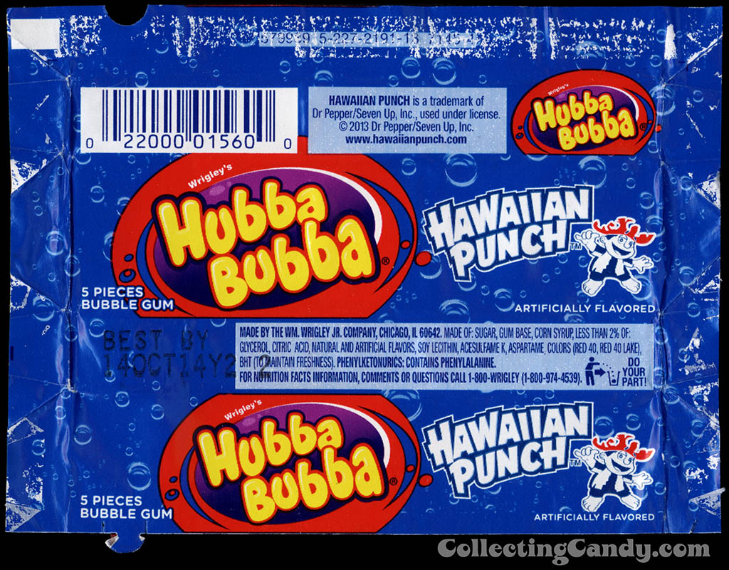 Wrigley - Hubba Bubba Hawaiian Punch - bubble gum candy wrapper - February 2014