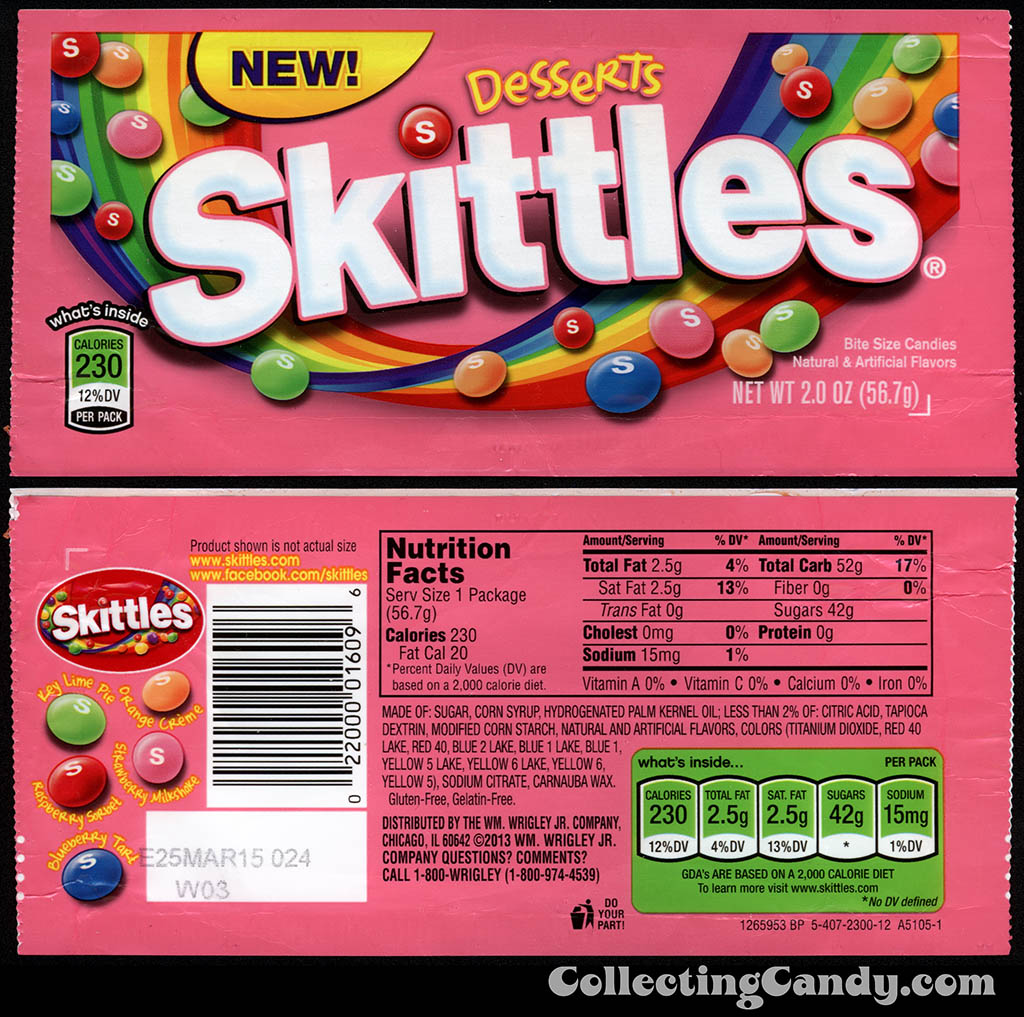 Wrigley - Skittles - Desserts - NEW - 2 oz candy package - December 2013
