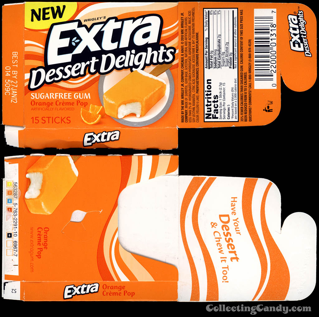 Wrigley's - Extra Dessert Delights - Orange Creme Pop - NEW - sugarfree gum pack box - 2011