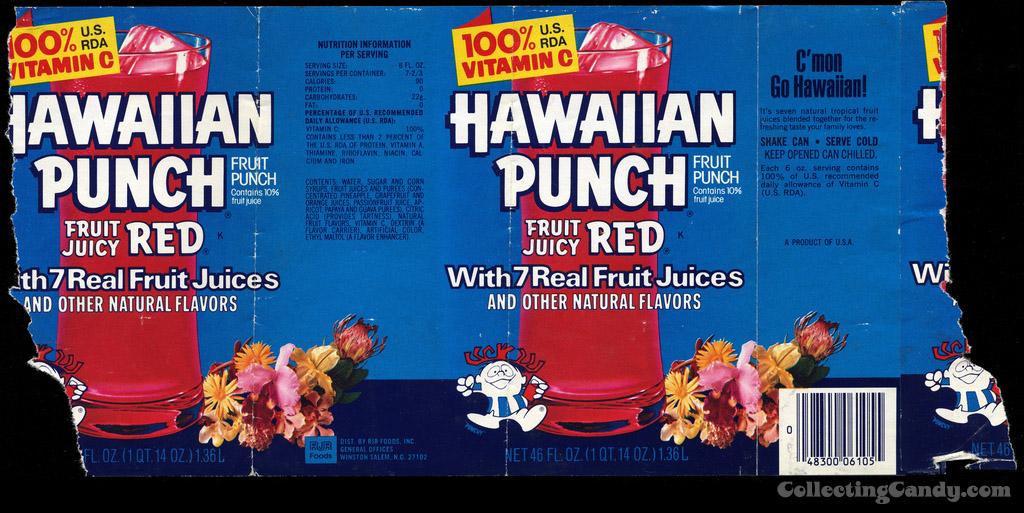 Hawaiian Punch - Fruit Juicy Red can label - 1970's