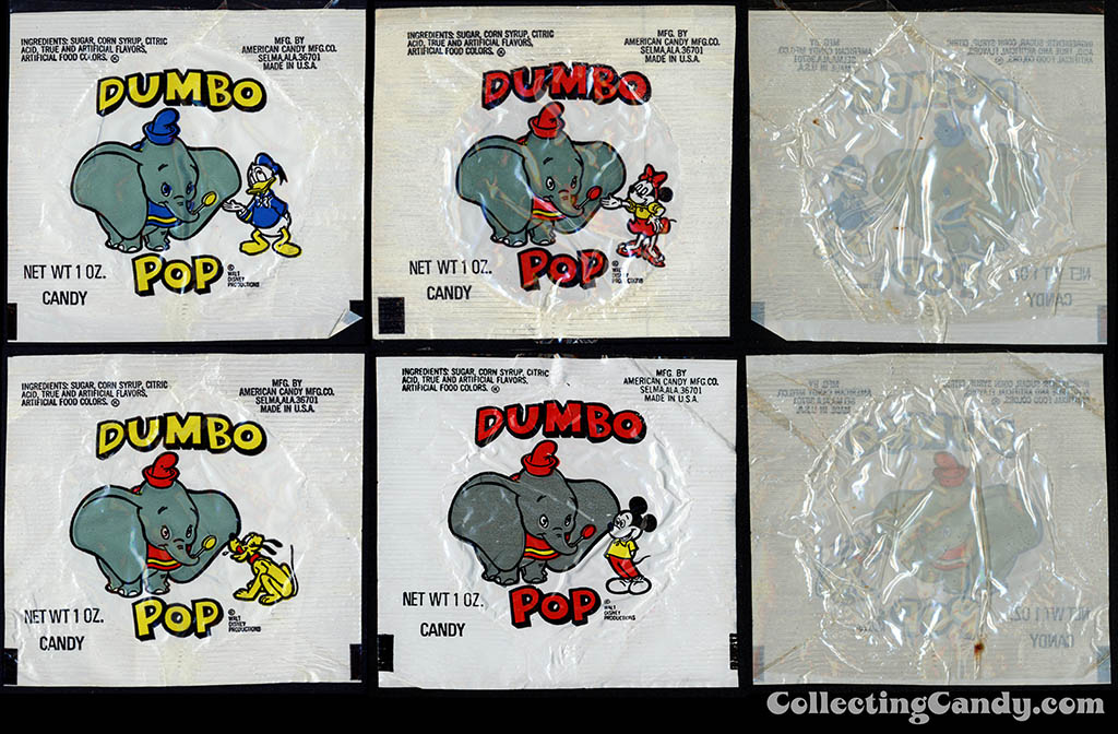 American Candy Company - Disney - Dumbo Pops - 1 oz candy lollipop wrappers - 1978