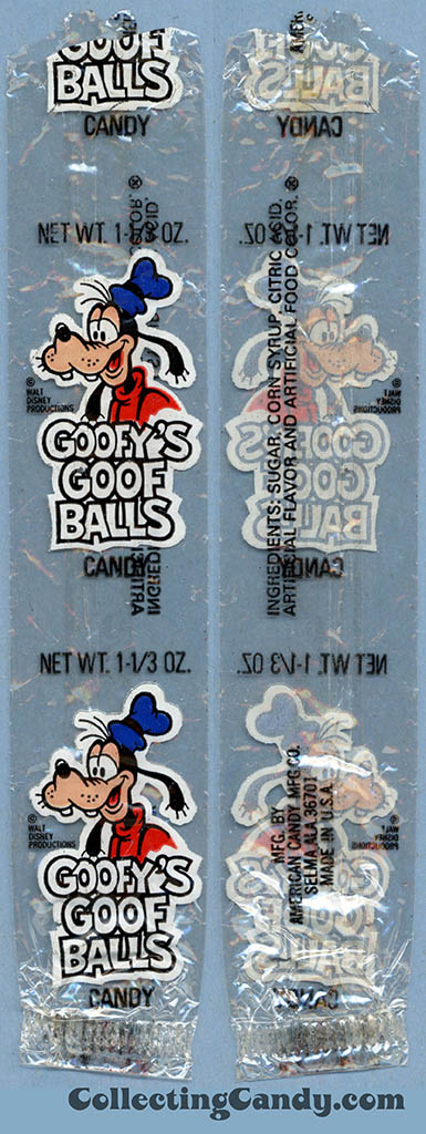 _American Candy Company - Disney - Goofy's Goof Balls - 1 1/3 oz candy wrapper - 1978