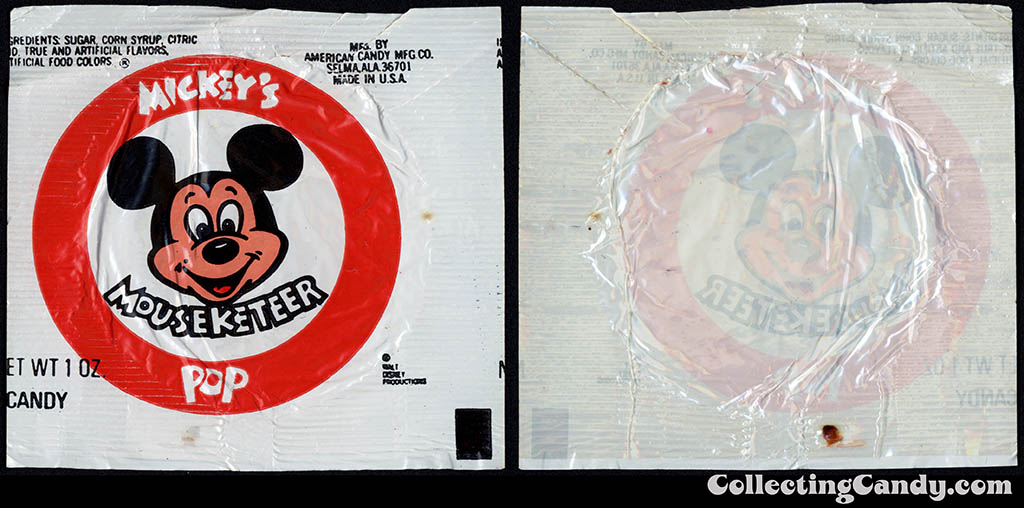 American Candy Company - Disney - Mickey's Mouseketeer Pop - 1 oz candy lollipop wrapper - 1978