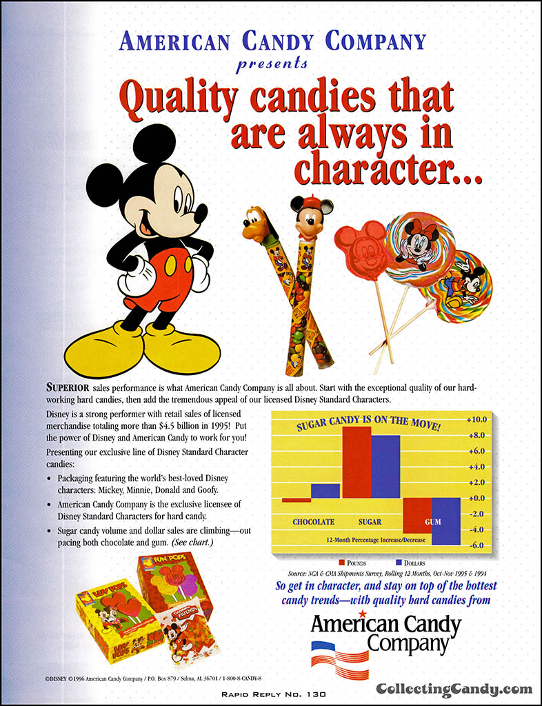 American Candy Company - Disney - Quality candies always in character - candy trade magazine ad - January 1996