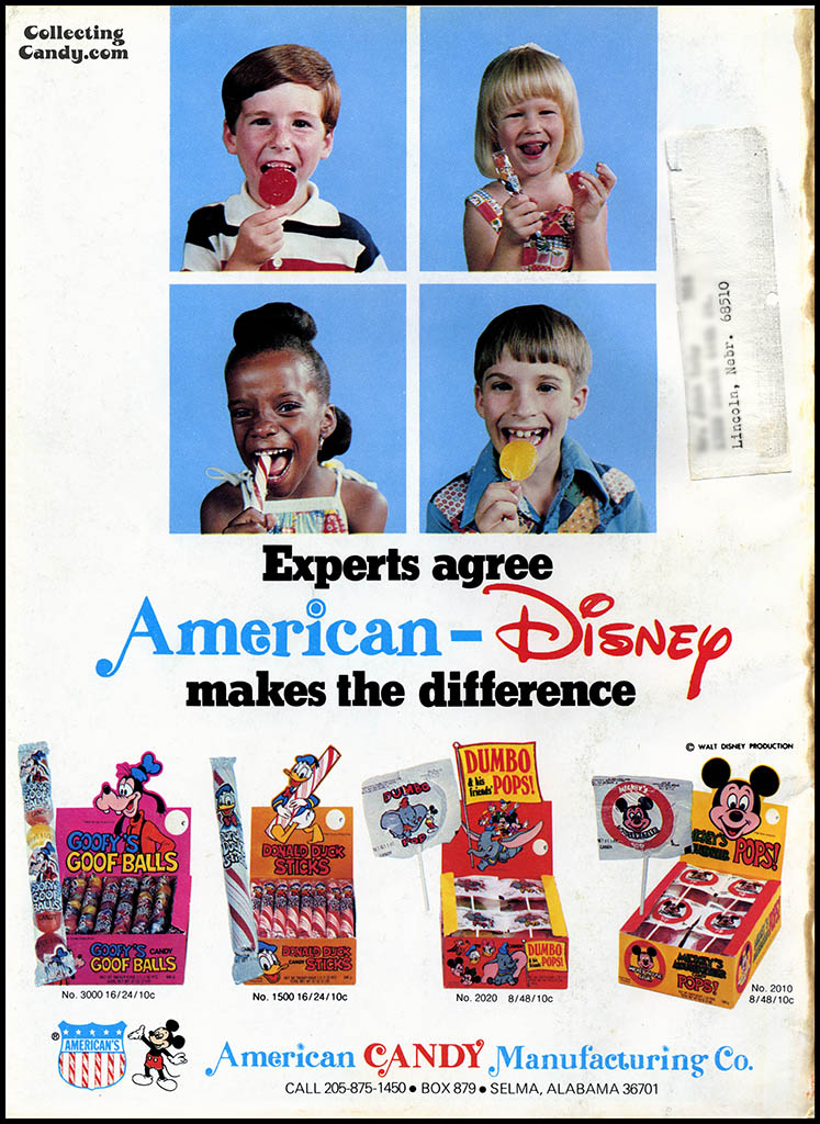 American Candy Manufacturing Co - Disney - Experts agree - candy trade magazine ad - October 1977