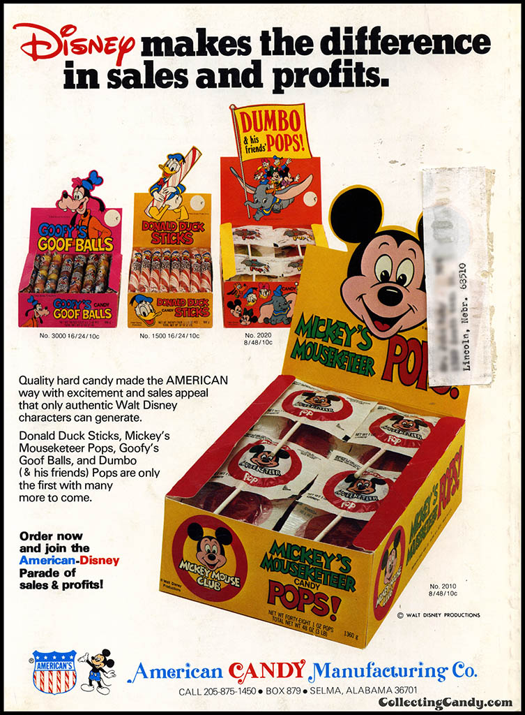 American Candy Manufacturing Co - Disney - makes the difference - candy trade magazine ad - March 1977