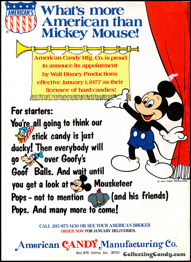 American Candy Manufacturing Co - What's more American than Mickey Mouse - candy trade magazine ad - December 1976