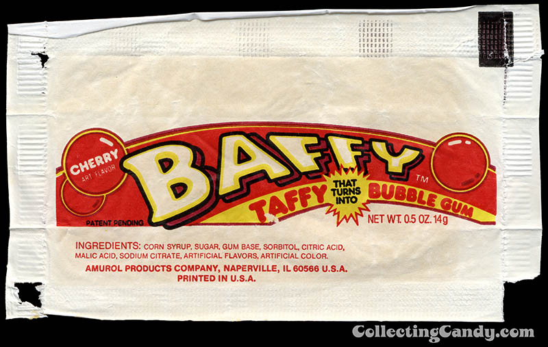 Amurol - Baffy - cherry taffy bubble gum - inner candy bubblegum wrapper - 1986