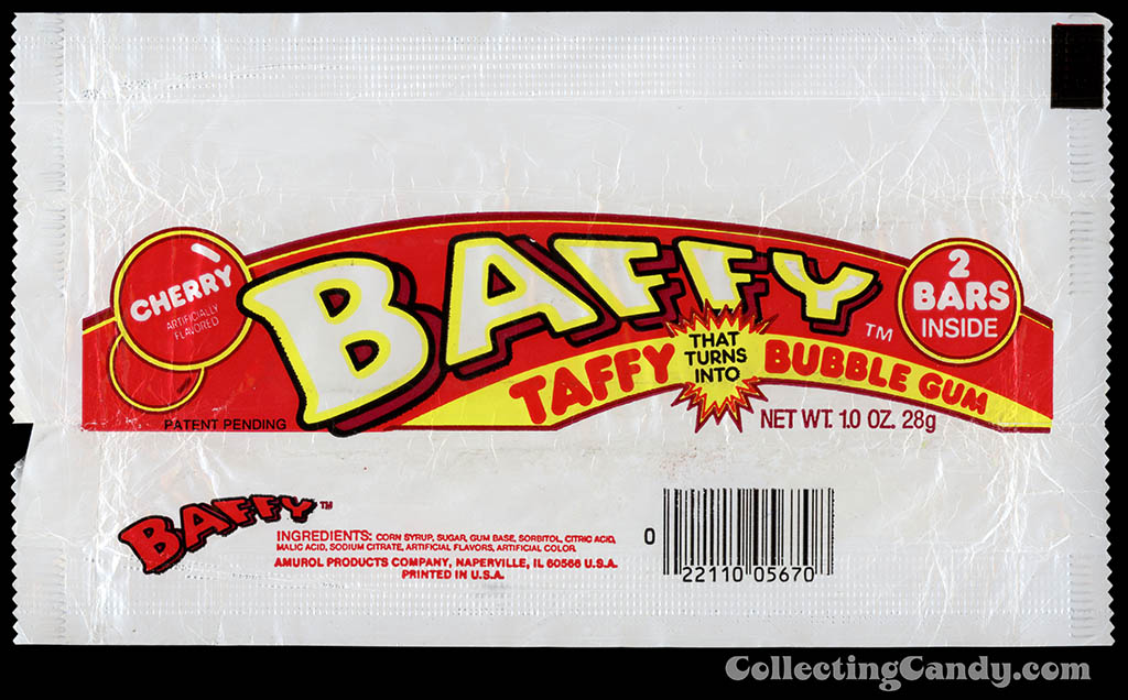 Amurol - Baffy - cherry taffy bubble gum - outer candy bubblegum wrapper - 1986