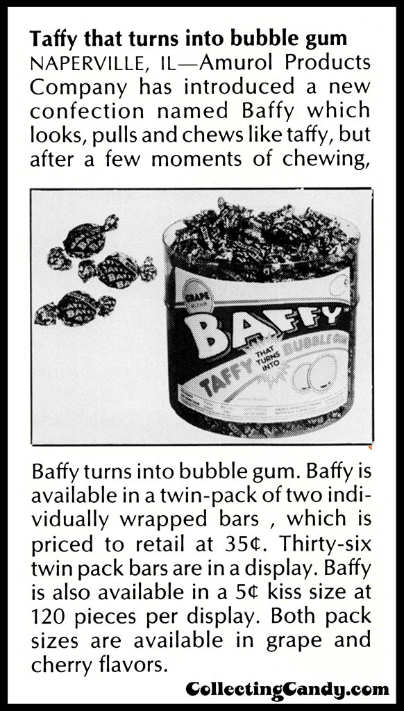 Amurol - Baffy taffy bubblegum - individually wrapped grape and cherry - candy trade magazine clipping - July 1986