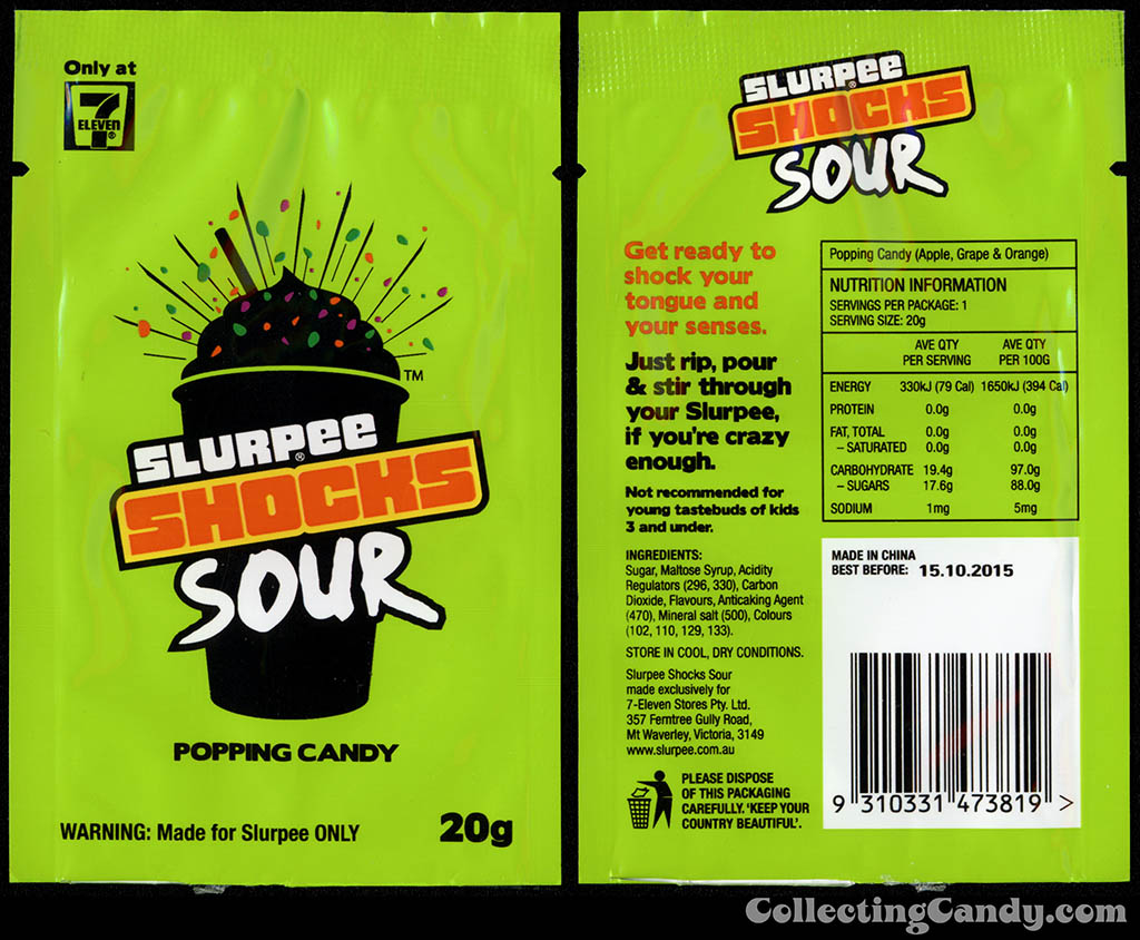 Australia - 7-Eleven - Slurpee Shocks Sour popping candy pack - January 2014