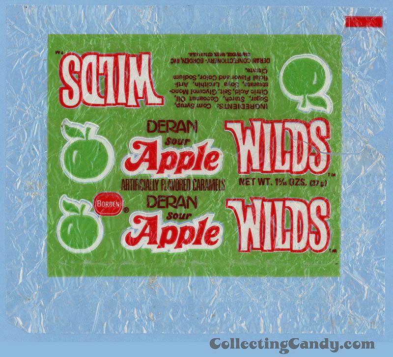 Borden - Deran - Sour Apple Wilds - artificially flavored caramels - cellophane candy wrapper - 1976