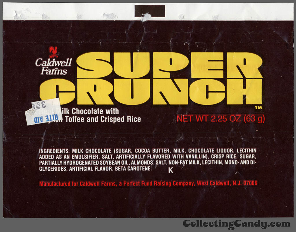 Caldwell Farms - Super Crunch - fund raising - 2.25 oz chocolate candy bar wrapper - 1980's