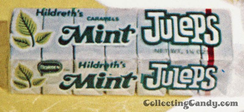Deran - Hildreth's Caramels Mint Julep - candy trade ad close-up - August 1972
