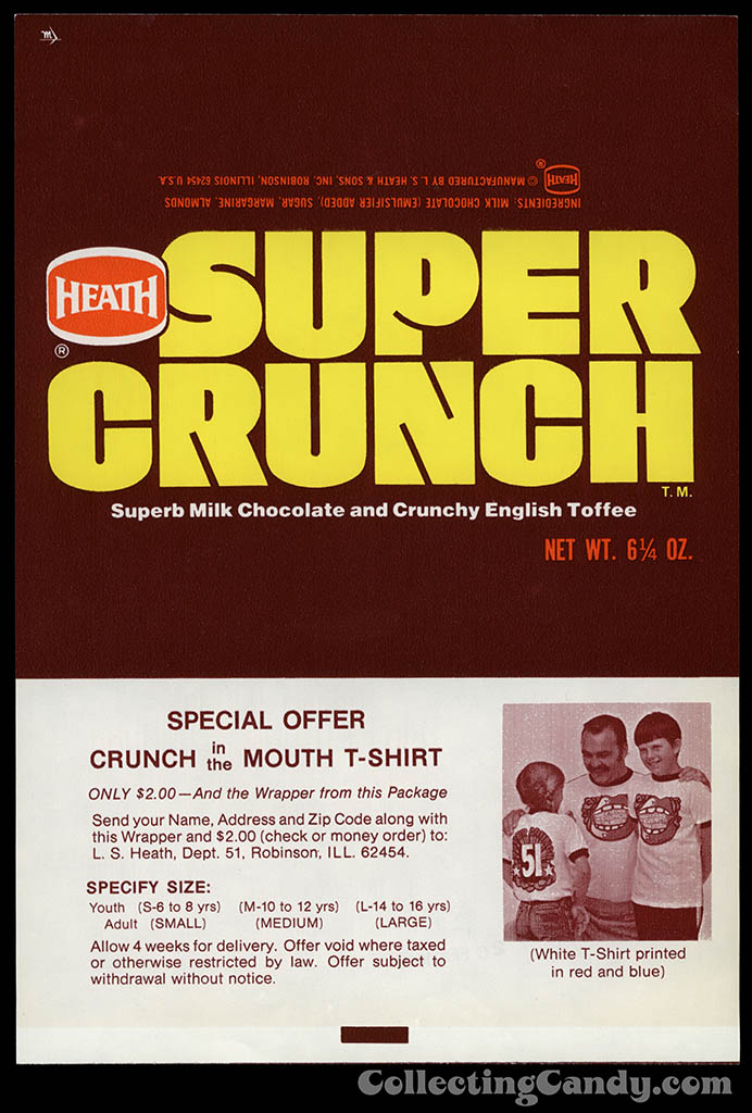 Heath - Super Crunch - Dick Butkus Crunch in the Mouth t-shirt offer - 6 1/4 oz chocolate candy bar wrapper - 1970's