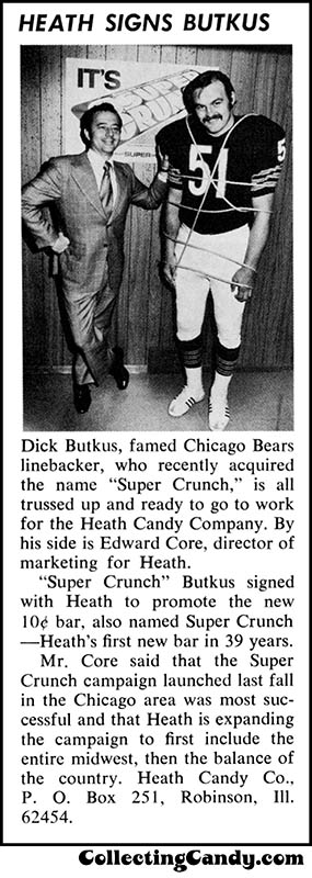 Heath Super Crunch - Heath Signs Butkus - candy magazine trade clipping - April 1972