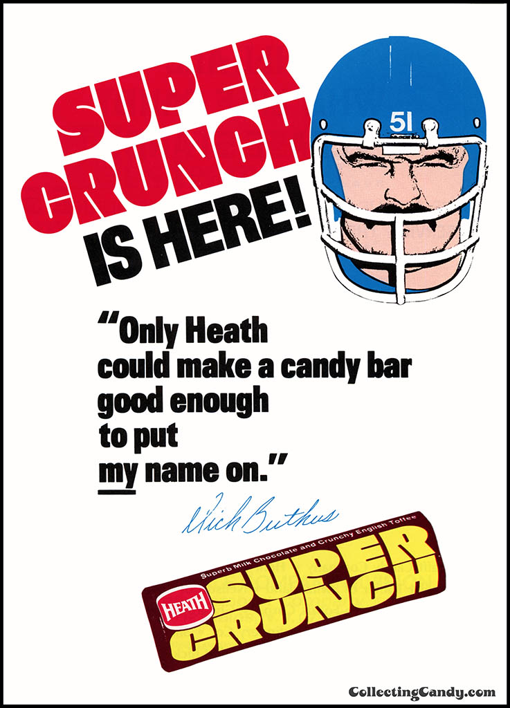 Heath - Super Crunch - Is Here - Dick Butkus - candy trade magazine advertisement - January 1972
